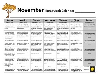Homework Calendars (SET A) - Reusable Set for the Whole Year