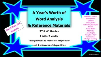 Year's Worth - Reading Review - Word Analysis & Reference Materials - Unit 1