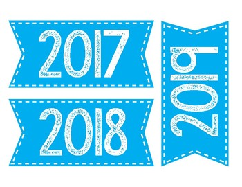 Years calendar labels-Blue