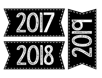 Years calendar labels-black