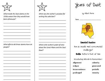 Years of Dust Trifold - Wonders 6th Grade Unit 4 Week 1