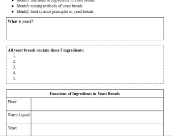Yeast Breads PowerPoint & Student Notes Handout