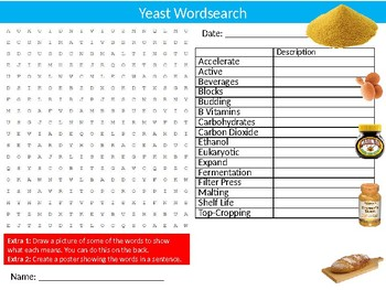 Yeast Wordsearch Puzzle Sheet Keywords Breads Food Science Nutrition