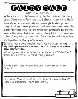 Yeh-Shen (Journeys 2nd Grade - Supplemental Materials)