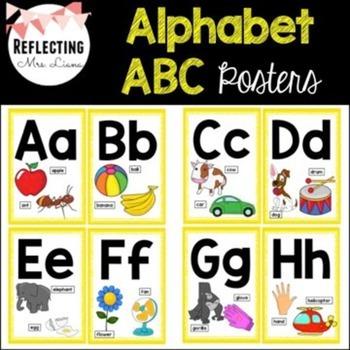 Yellow Alphabet ABC Posters