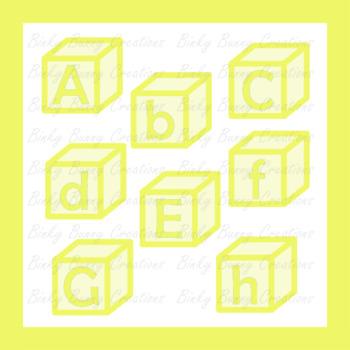 Yellow Alphabet Blocks Clip Art Clipart