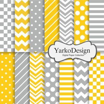 Yellow And Grey Basic Geometric Digital Paper Set, 14 Digital Paper Sheets