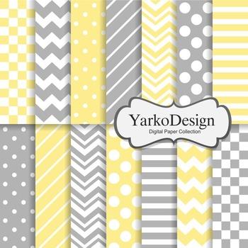 Yellow And Grey Basic Geometric Digital Paper Set, 14 Digi