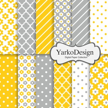 Yellow And Grey Floral Digital Scrapbooking Paper Set, 12 Digital Papers