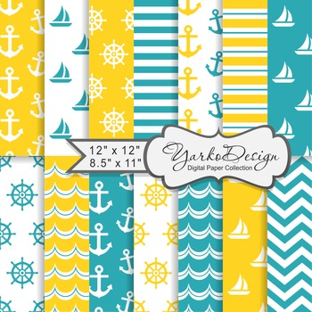 Yellow And Tuquoise Nautical Digital Paper Pack, Geometric, 14 Sheets