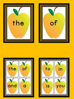 Yellow Apple Fry First 100 Sight Word Flashcards and Posters