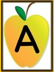 Yellow Apple Full Page Alphabet Letter Posters Uppercase and Lowercase