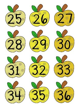 Yellow Apple Labels with numbers