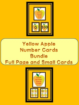 Yellow Apple Number Flashcards and Posters Bundle 0-100