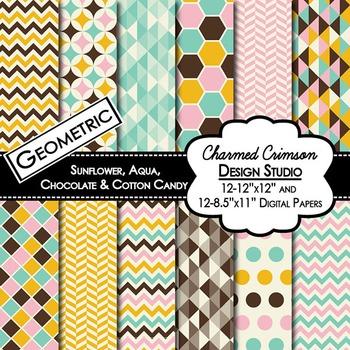 Yellow, Aqua, Brown, and Pink Geometric Digital Paper 1433