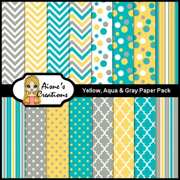 Yellow, Aqua & Gray Digital Paper Pack