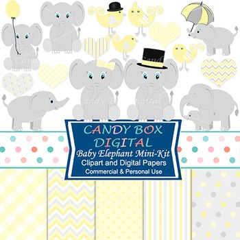 Yellow Baby Elephant Clipart & Digital Papers Combo Kit