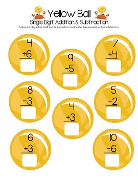 Yellow Ball Math - Single Digit Addition and Subtraction