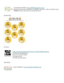 Yellow Ball Math - Triple Digit Addition and Subtraction