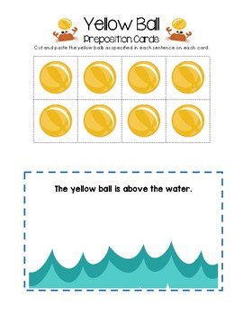 Yellow Ball Preposition Cards
