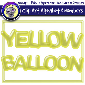 Yellow Balloon Clip Art Alphabet Letters & Frames