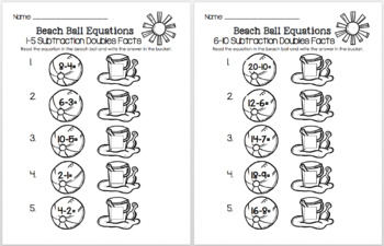 Yellow Beach Ball Equations - Subtraction Doubles Facts