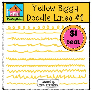 Yellow Biggy Doodle Lines #1 {P4 Clips Trioriginals Digital Clip Art}