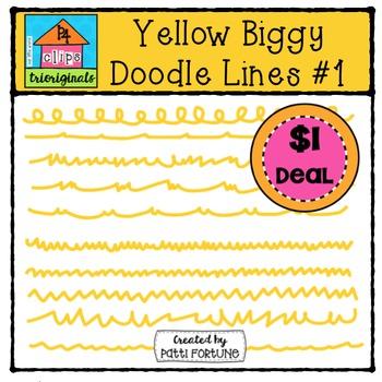 Yellow Biggy Doodle Lines #1 {P4 Clips Trioriginals Digita