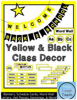 Yellow & Black Classroom Decor Pack