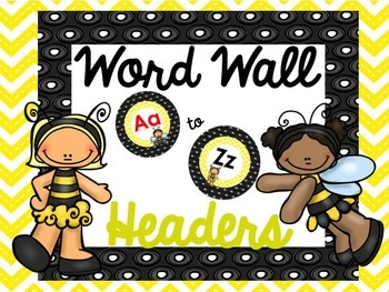 Yellow & Black Word Wall Headers {Editable}