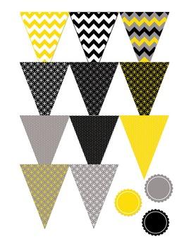 Yellow, Black, and Gray Editable Banners for Classroom Decor