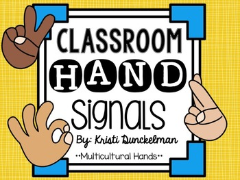 Yellow & Blue Classroom Hand Signals--Multicultural Hands