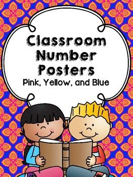 Yellow, Blue and Pink Number Posters