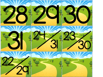 Yellow Brick Road Calendar Numbers