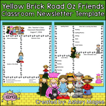 Yellow Brick Road Oz Friends Editable Classroom Newsletter Template