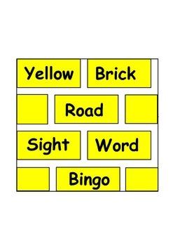 Yellow Brick Road Sight Word Bingo