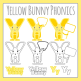 Yellow Bunny Letter Y Phonics Character Clip Art Set for Commercial Use