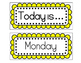Yellow Calendar Cards - Weekdays