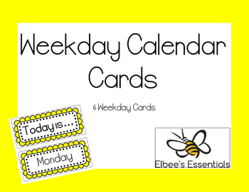 Yellow Calendar Cards - Weekdays