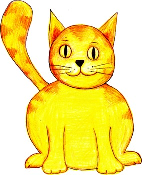 Hand-Drawn Colored Pencil Cat Clip Art PNG Image ~ Transparent Background