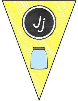 Yellow & Chalkboard A-Z D'Nealian Letter Banner