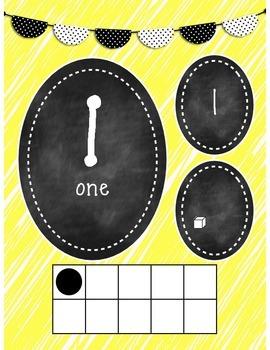 Yellow & Chalkboard Numbers 1-20