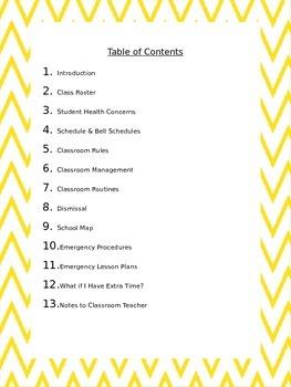 Yellow Chervon Subsitute Teacher Binder