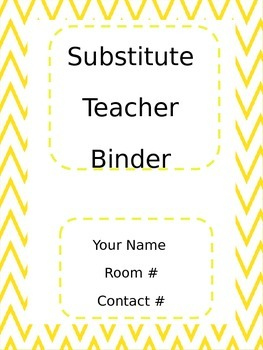 Yellow Chervon Subsitute Teacher Binder