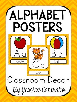 Yellow Chevron ABC Posters
