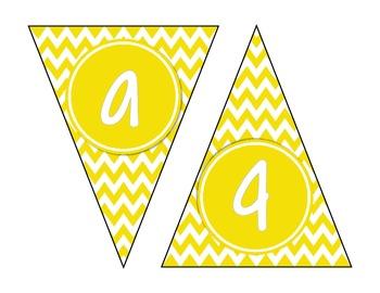 Yellow Chevron Alphabet Banner Set (upper & lowercase, numbers 0-9)