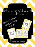 Yellow Chevron Alphabet (Cursive, Print, and Writing Cards)