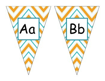 Yellow Chevron Alphabet Pennants