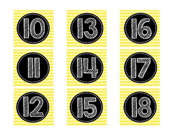 Yellow Chevron Calendar Numbers