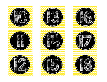 Yellow Chevron Calendar Numbers
